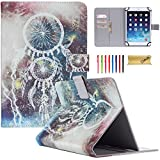 Universal 9-10 inch Tablet Case, Dteck(TM) Luxury PU Leather Magnetic Closure with Auto Wake/Sleep Function [Cards/Money Slots] Wallet Case Cover for All 9-10 inch Tablet (01 Two Windchime)
