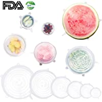 6 Pack Silicone Stretch Lids Reusable Durable and Expandable BPA Free Covers for Bowl, Containers, Cups, Cans, Plates, Microwave, Keeping Food Fresh and Dishwasher Safe