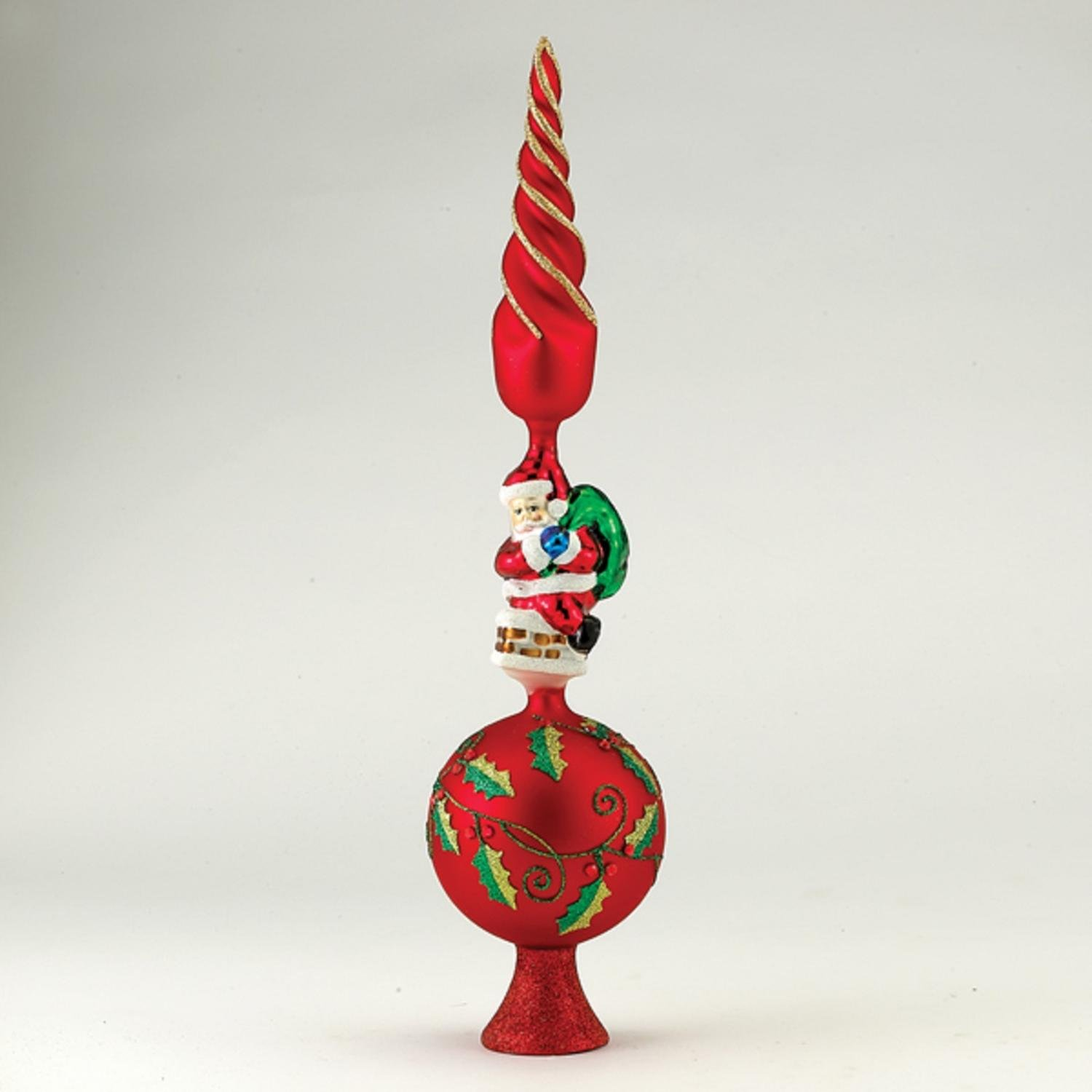 Pack of 3 Glass Red, Gold and Green with Santa Christmas Tree Topper 16''