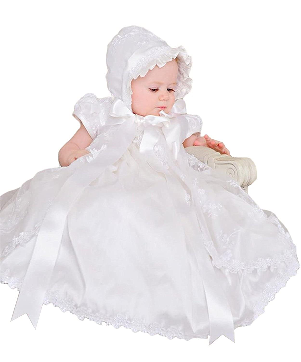 3b39a27b4 SHENLINQIJ Baby Girls White Christening Gown with Bonnet Infant Baptism  Dresses: Amazon.ca: Clothing & Accessories