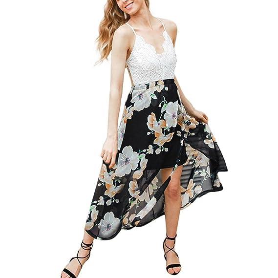 Vestito da donna Elegante 💋feiXIANG® Donne Sexy Vestiti Cerimonia Donna  Patchwork Lungo Abito a579a3e474e