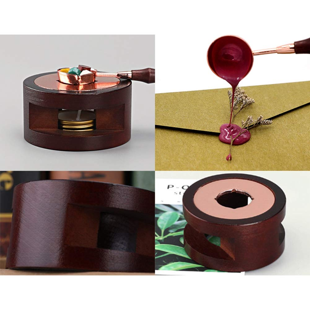 Jlong Wax Melting Furnace Household Retro Sealing Wax Solid Wood Spoon Candles Tool
