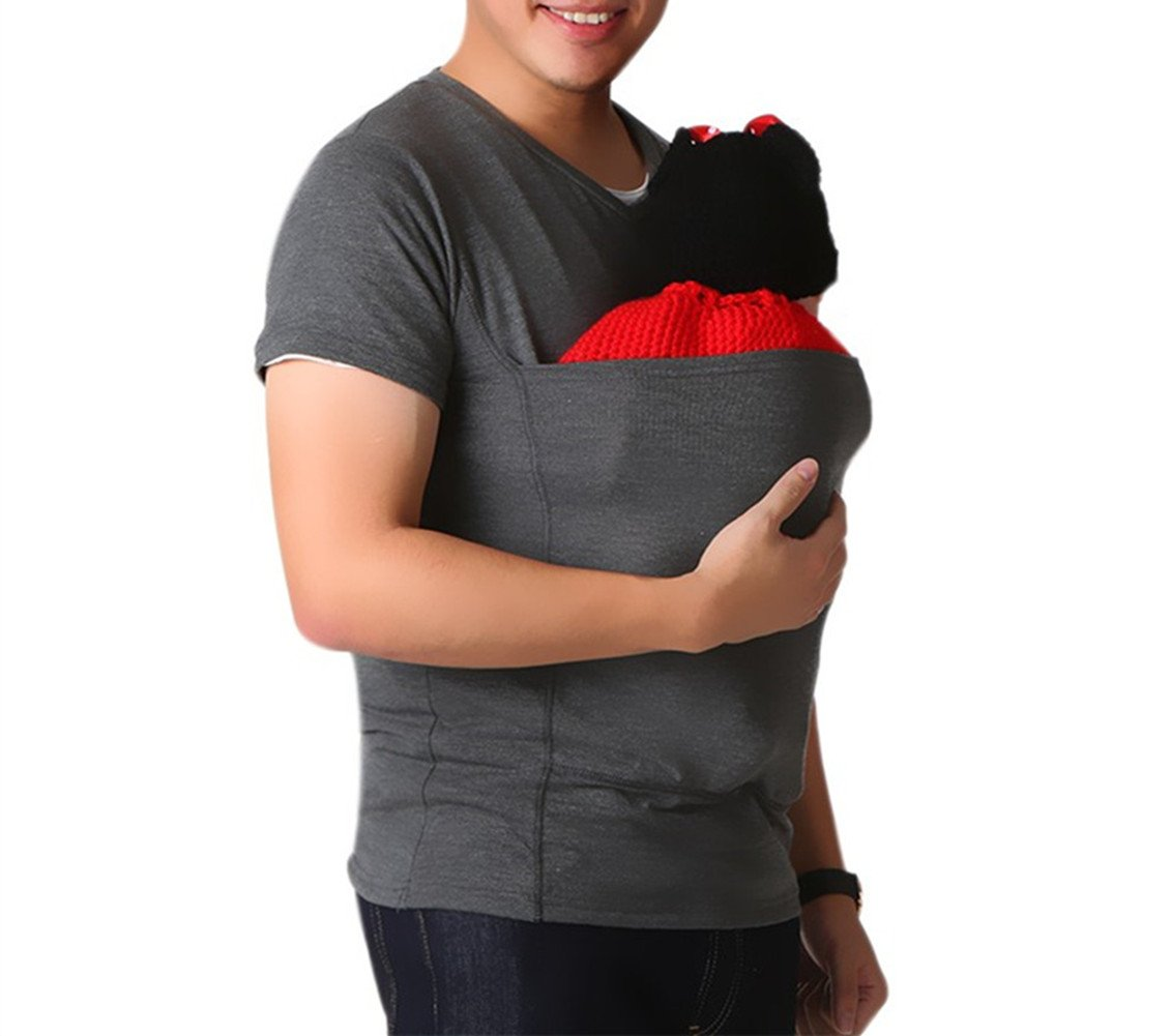 Soothe Shirts, Kangaroo Care Soothing and Breastfeeding Baby Carrier Wrap Top , Hands Free Skin-to-Skin Kangaroo Care Shirts (L, Gray Shirt)