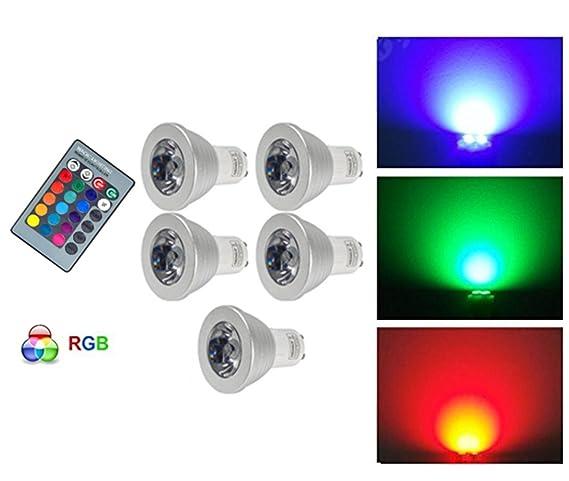 Anitech® 5 unidades GU10 RGB LED Bombilla Foco Multicolor Bombilla con mando a distancia (