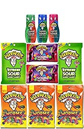 Warheads Variety Candy Sack Featuring Sour Gummy Worms, Super Sour Double Drops, Sour Chewy Cubes and Extreme Sour - Assorted Bundle