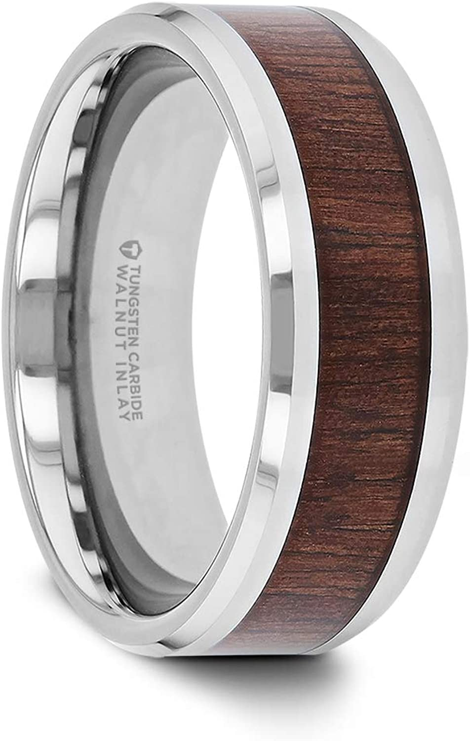 Thorsten Halifax | Tungsten Rings for Men | Tungsten | Comfort Fit | Wedding Ring Band with Smooth Bevels and Black Walnut Wood Inlay - 8mm