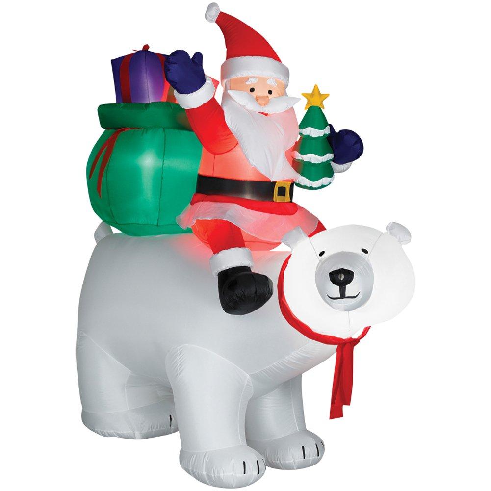 Amazon.com: 6ft Airblown Santa Sitting on Polar Bear Scene: Home ...