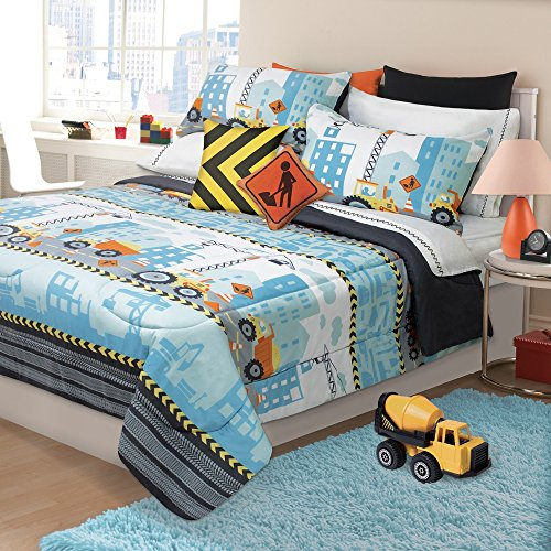 2 Piece Kids Grey Orange Blue Construction Zone Themed Comforter Twin Set, Boys Caution Building Site Bedding, Yellow Black Yeild Sign Dump Truck Crane Bull Dozer Pattern