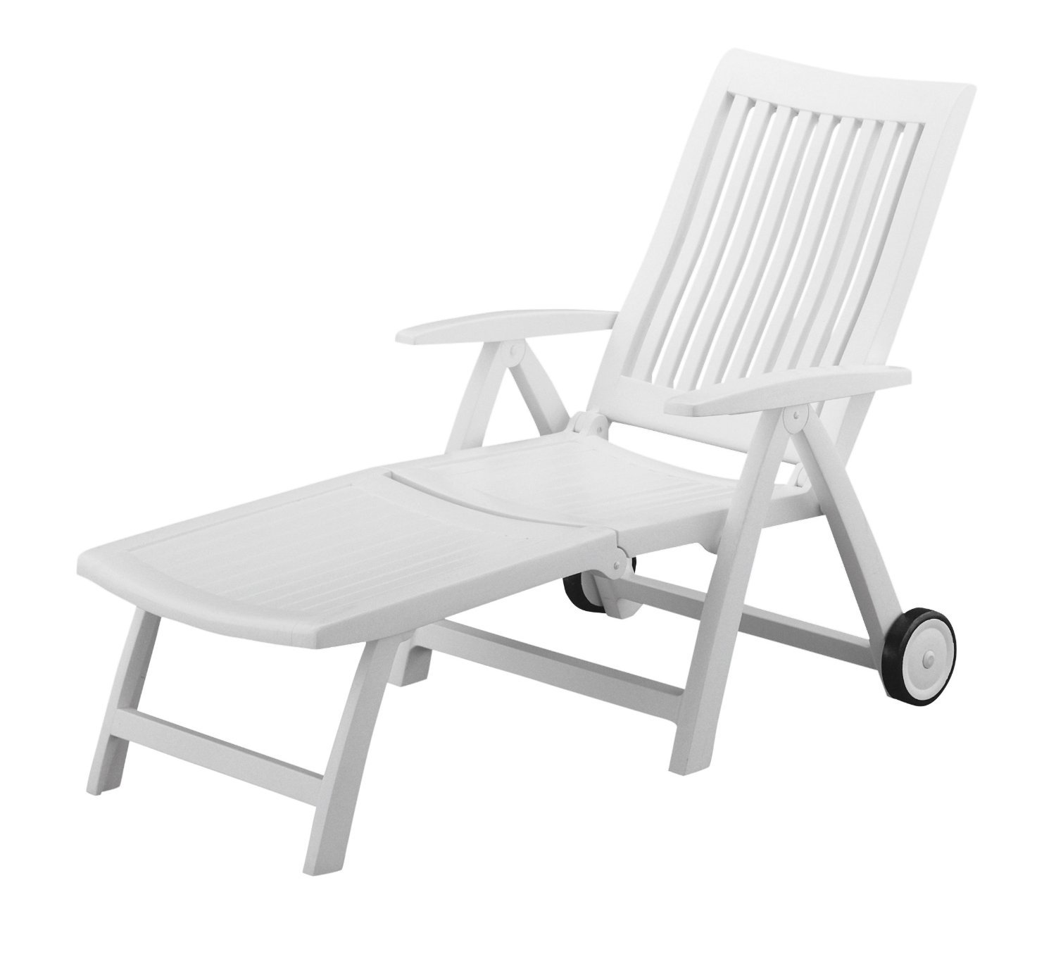 Amazon Roma Folding Lounger in White Resin Patio Lounge