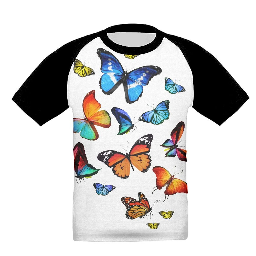 Butterfly Unisex-Child T Shirt Baby Toddler Tee Round-Neck Short Sleeve Shirt