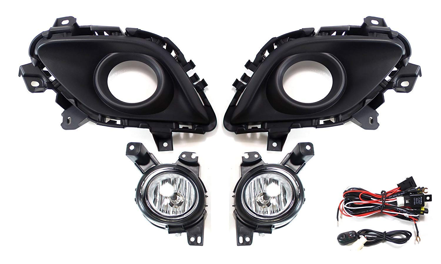 Ijdmtoy Complete Set Fog Lights Foglamp Kit With Halogen Mazda Wiring Housing Bulbs On Off Switch And Garnish Bezel Covers For 2014 2016 6 Excluding