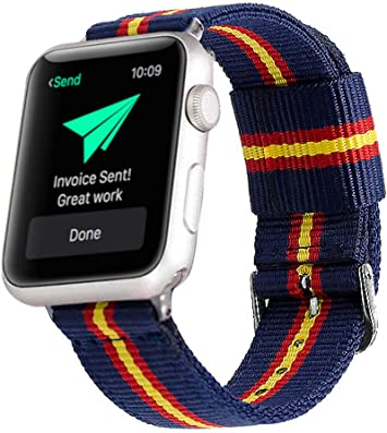 Estuyoya - Pulsera de Nailon Compatible con Apple Watch Colores Bandera de España, Ajustable Reemplazo Estilo Deportiva Casual Elegante para 42mm 44mm Series 5/4 / 3/2 / 1 Nike+: Amazon.es: Electrónica
