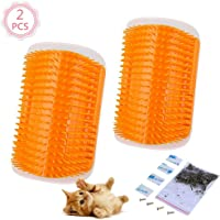 2 Pcs/Set Cat Self Groomer Brush Catnip-Wall Corner Mounted Massage Grooming Comb-Helps Prevent Hairballs and Controls Coming-Safe fortable with Catnip (Orange)