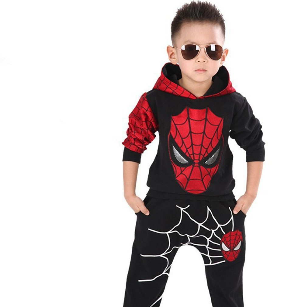 2Pcs Boys Spider-Man Pullover Hoodies+Pants Baby Clothing