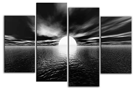 Large black and white modern seascape canvas artwork unique design 4 pieces multi panel split canvas