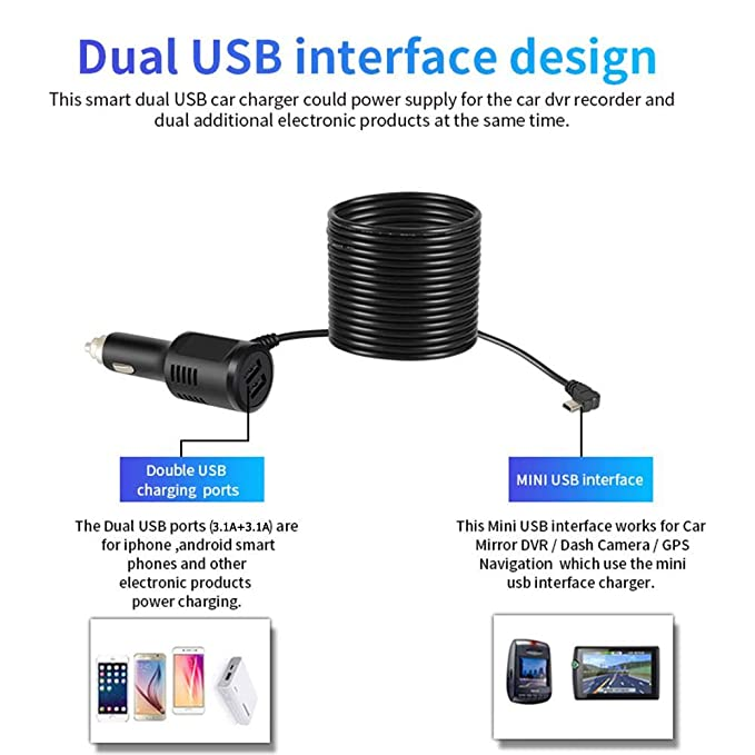 gps charger wiring diagram manual of wiring diagramamazon com dual usb port 6 2a fast charging car charger mini usb data cable wiring gps charger wiring diagram