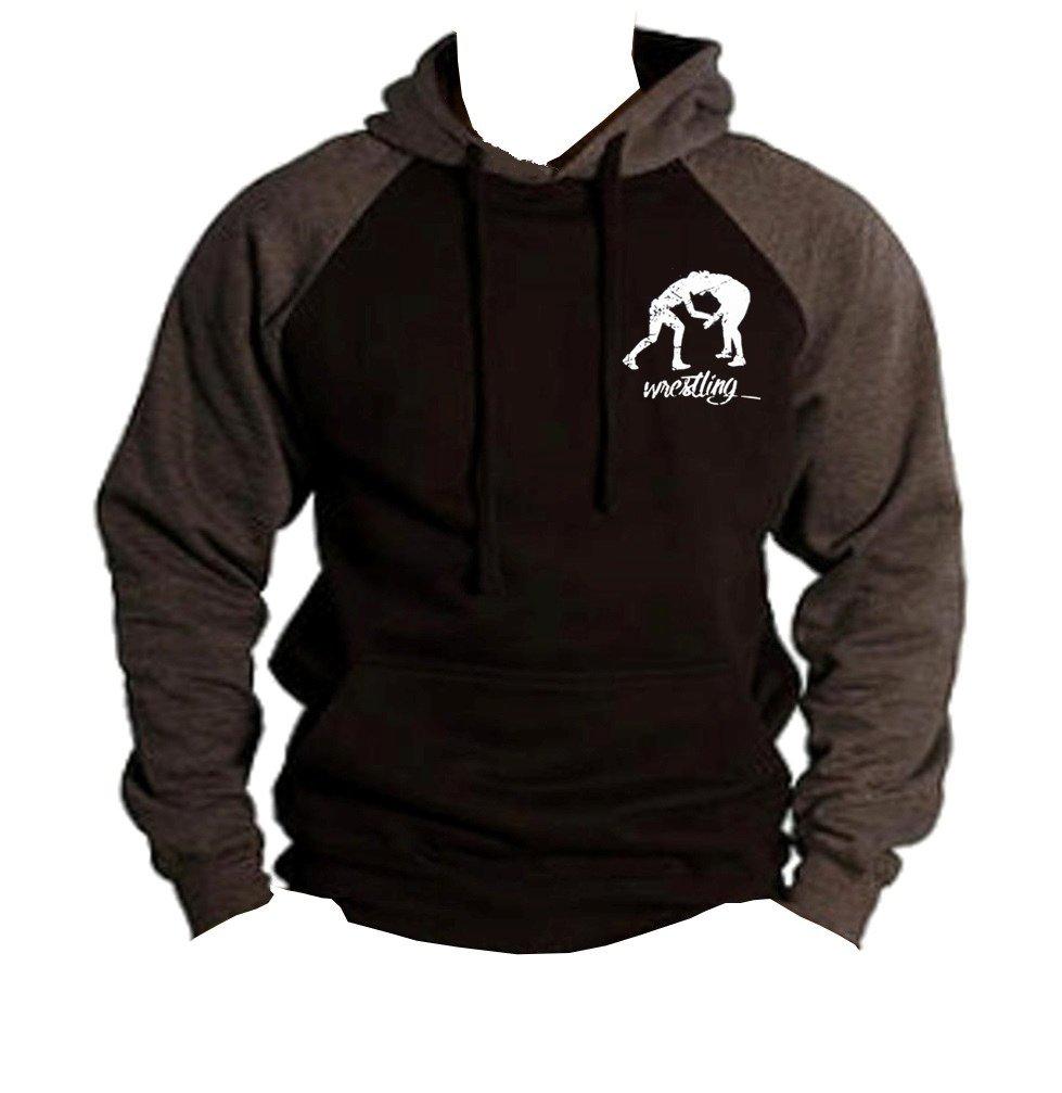 Men's MMA Wrestling Emblem Black/Charcoal Raglan Baseball Hoodie Sweater Large Black