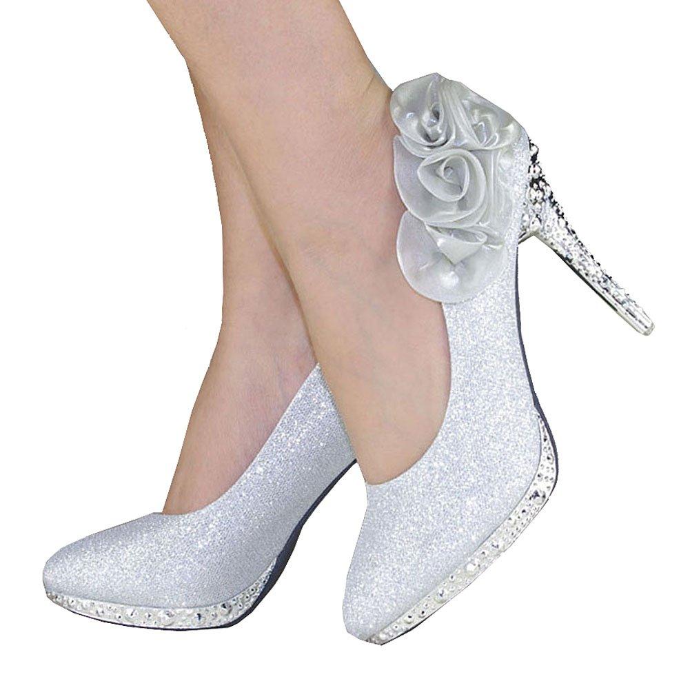 getmorebeauty Women's Silver Rose Flower Crystal Glitter Wedding Shoes 9 B(M) US