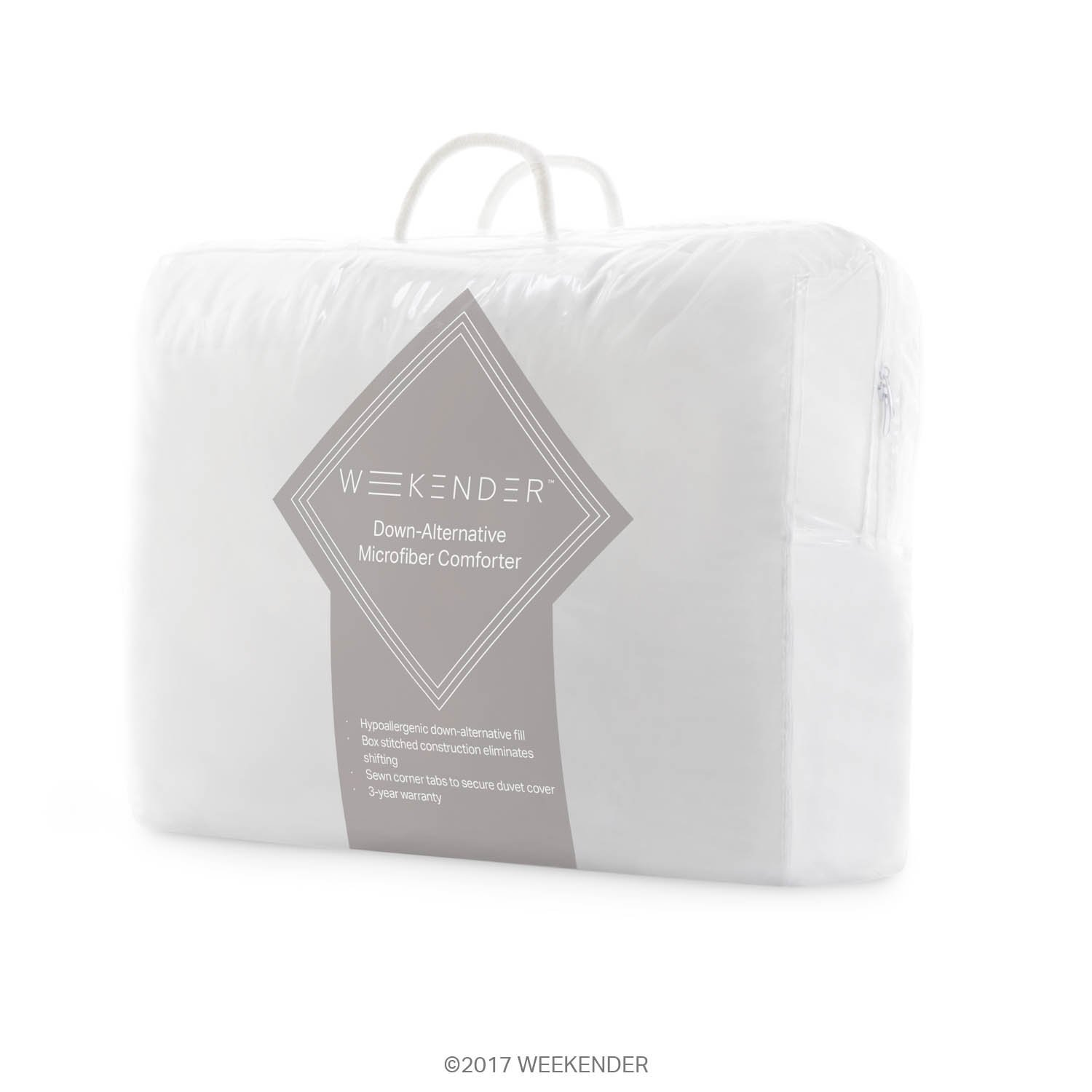 Great for All Seasons Corner Duvet Tabs WEEKENDER Quilted Down Alternative Hotel-Style Comforter Queen Classic White WK70QQMICO Hypoallergenic Use as Duvet Insert or Stand-Alone Comforter