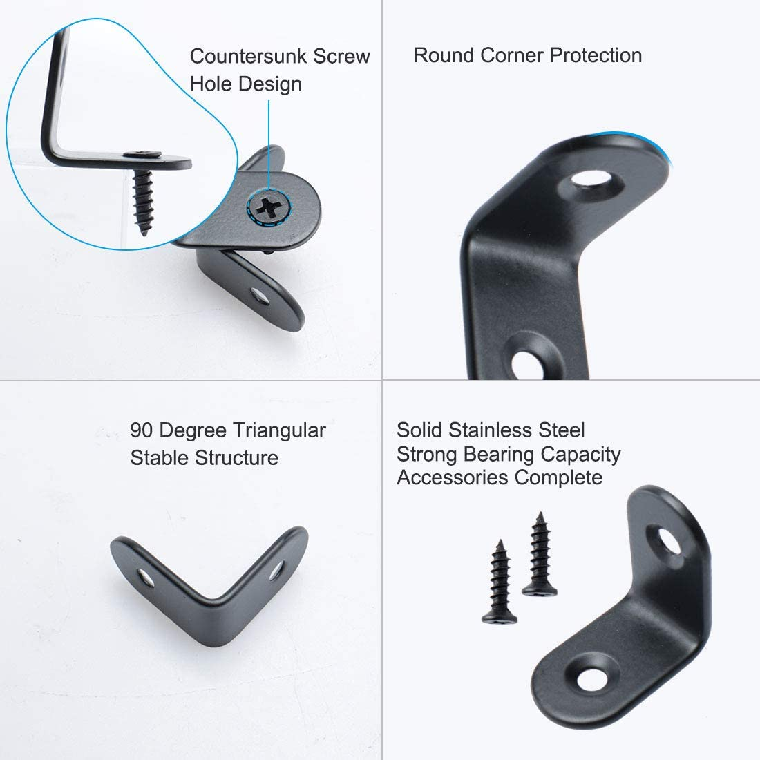 sourcing map 2pcs Angle Bracket Stainless Steel 25x25mm Corner Brace Fastener L Shaped Right Angle Brackets Corner Protector Shelf Support with Screws for Furniture