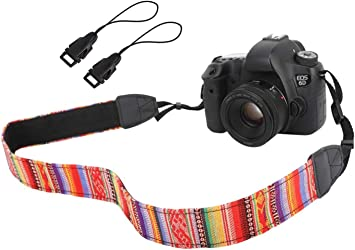 WANBY Camera Soft Shoulder Neck Strap with Free Quick Release Buckles Universal Camcorder Belt Strap Vintage Antislip Strap for Women Men All DSLR SLR Cameras Replacement for Nikon Black