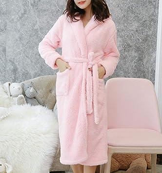 TUJHGF Mujer En Otoño E Invierno Batas De Baño Acolchadas Cálido Y Sencillo Camisón De Casa Lindo,Pink-XL: Amazon.es: Hogar