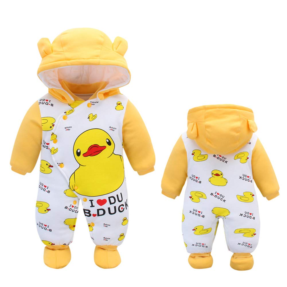 ALLAIBB Newborn Baby Warm Footie Romper Hood Winter Sleeping Bag Outfit Cartoon Aimals size 12-18M (dairy cow)