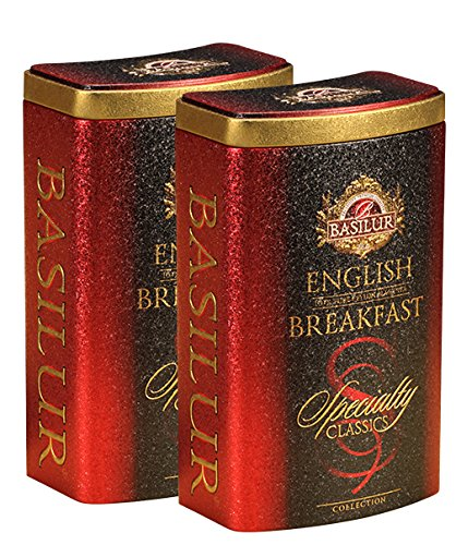 Basilur | Original English Breakfast | Ultra-Premium Loose Leaf Black Tea | Specialty Classics Collection | Free Tea Brewing Filters inside | 100g / 3.52oz. per Tin (Pack of 2)