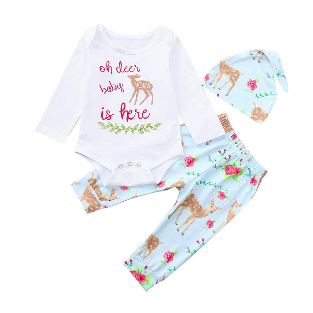 Newborn Romper Sets,Jchen(TM) New Style! Infant Baby Boys Girls Long Sleeve Cartoon Romper+Pants +Cap Outfits for 0-24 Months (Age: 18-24 Months)