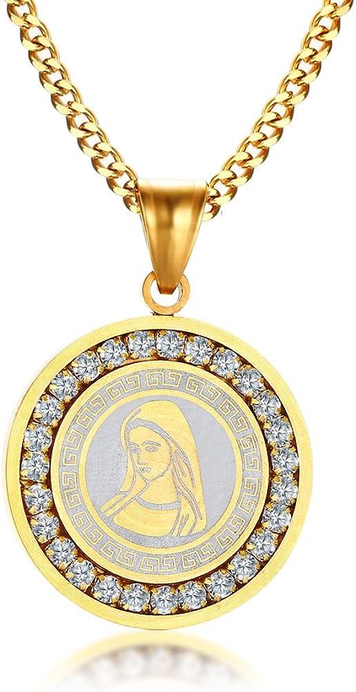 Vnox De acero inoxidable Cubic Zirconia Virgen María Colgante Collar Amuleto De Oro De La Joyería,Grabado Gratis