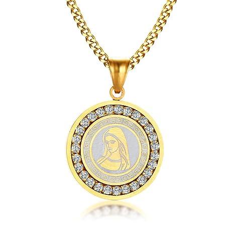 Vnox Acero Inoxidable Cubic Zirconia Round Etiqueta Virgen María Collar Colgante Amuleto Personalizado Joyas Oro,Grabado Gratis