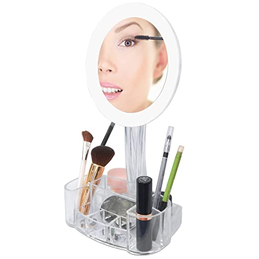 LED 7x Magnified Makeup Mirror with Cosmetic Organizer Base. Battery Operated.