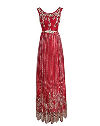 Drasawee Womens Long Sequins Bridal Evening Dresses Slim Prom Formal Gowns Burgundy UK4