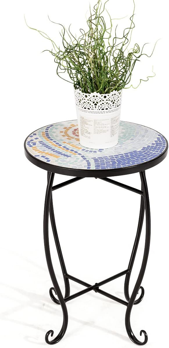 Happygrill Mosaic Side Table, Patio Plant Stand Beach Balcony Desk