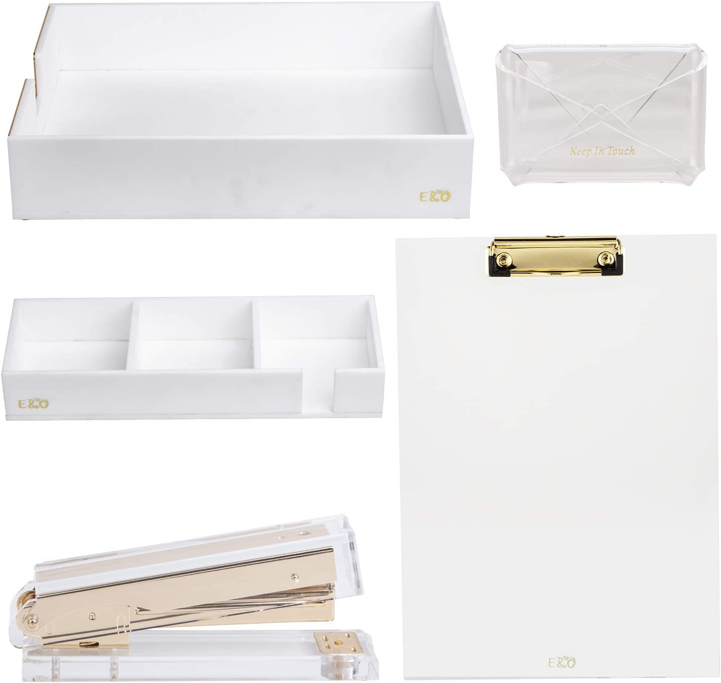 E&O 5 Pcs Set Clear Acrylic Stapler,Name Card Holder,Clipboard,Letter Tray, Notes Holder Office and Stationery Accessory