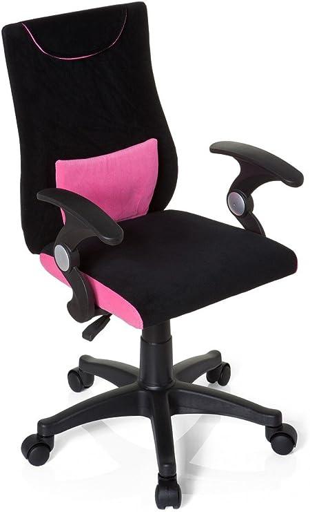 Hjh OFFICE 670450 Silla para niños KIDDY PRO AL tela negro rosa ...
