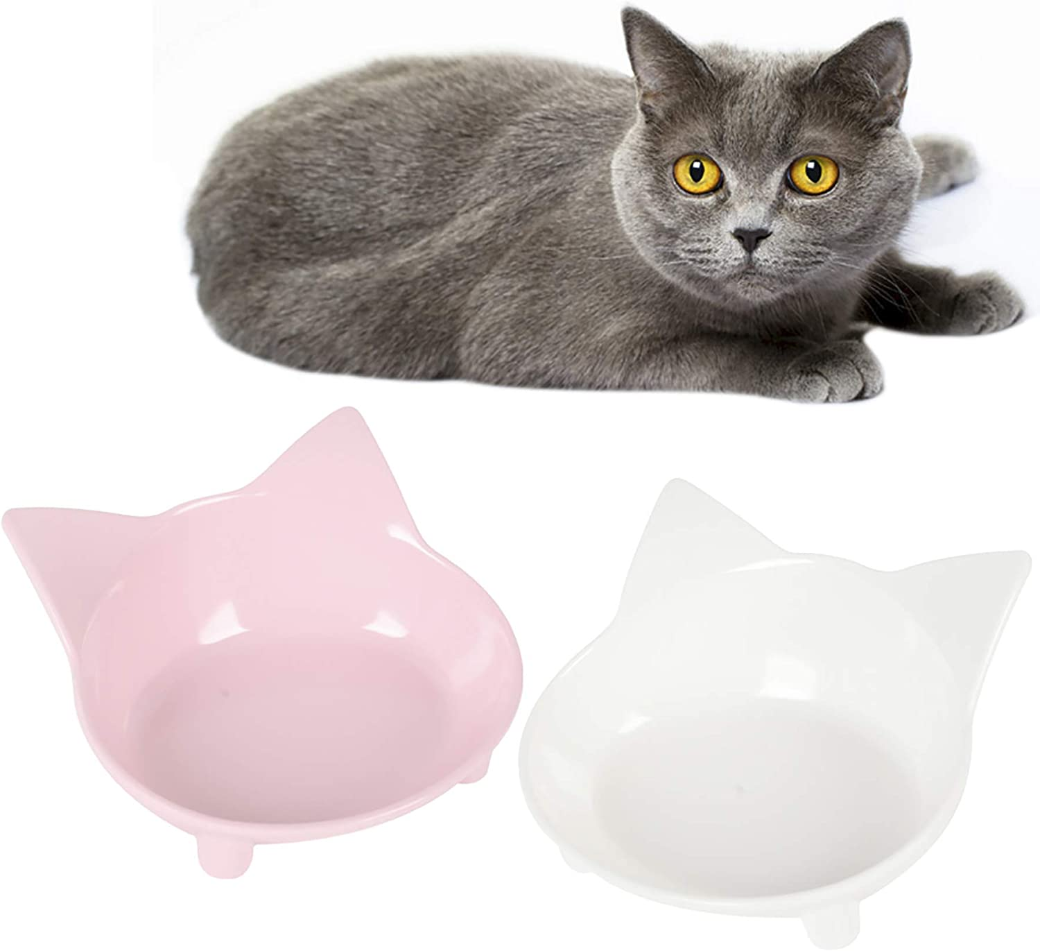 Cotill Cat Bowls, Non Slip Multi-Purpose Dog Cat Food Bowls, Reliefs Whisker Fatigue Wide Cat Dish, Shallow Feeder Bowls Pet Water Bowl for Small Dogs Cats and Pets