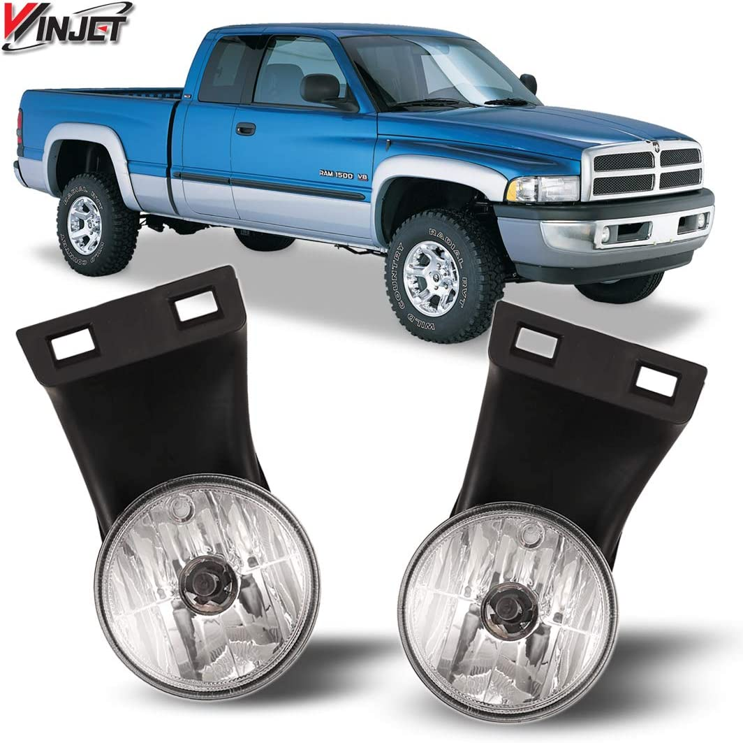 94-02 RAM Fog Lights 1500 2500 3500 Pick Up Truck Clear Front Lamps PAIR