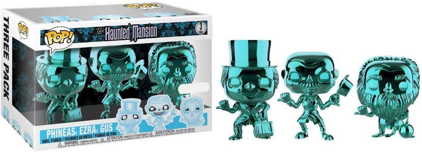 POP! Disney The Haunted Mansion 3 Pack Teal Metallic Chrome, Phineas, Ezra, Gus; Exclusive!