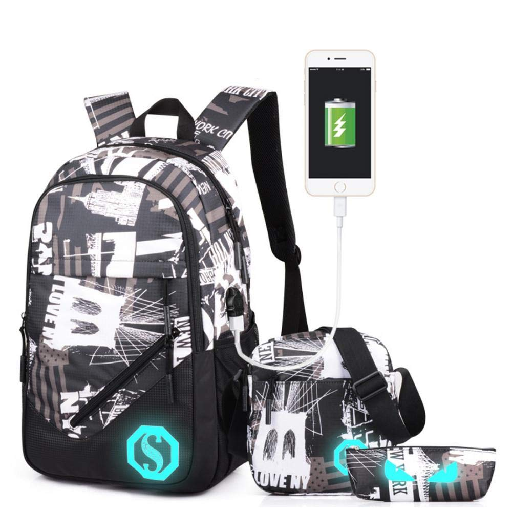 Ultralight Backpack with USB Charging Port, Water Resistant School Laptop Bags Set of 3 Casual Daypacks + Small Shoulder Bag + Luminous Pencil Case (City)