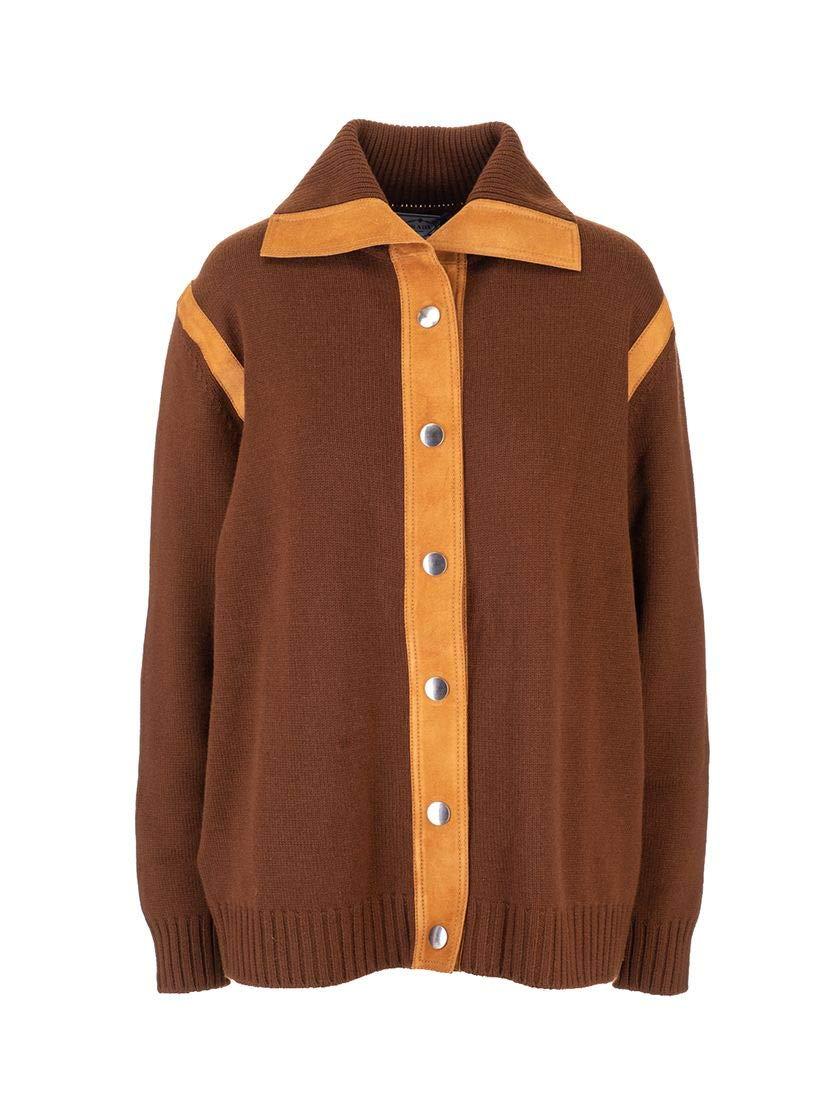 Prada Luxury Fashion Woman Brown Cashmere Cardigan
