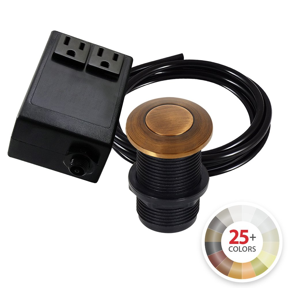 Dual Outlet Garbage Disposal Turn On/Off Sink Top Air Switch Kit in Compatible with any Garbage Disposal Unit and Available in 25+ Finishes by NORTHSTAR DÉCOR. (Standard 2-Inch, Antique Copper)
