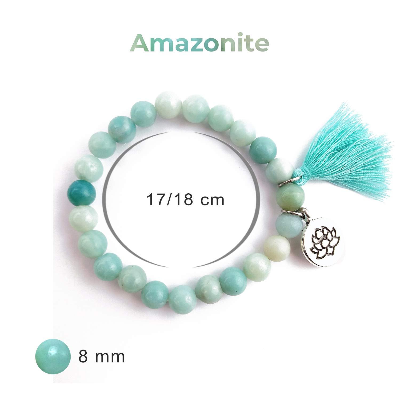 Arostyle Bracelet Pierre Naturelle ite avec Pendentif Lotus et Pompon Perles de 8mm pour Femme pour Le Yoga