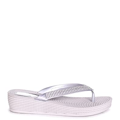 c69e71e96f3d KAIA - Silver Wedged Jelly Flip Flop with Diamante Embellished Strap   Amazon.co.uk  Shoes   Bags