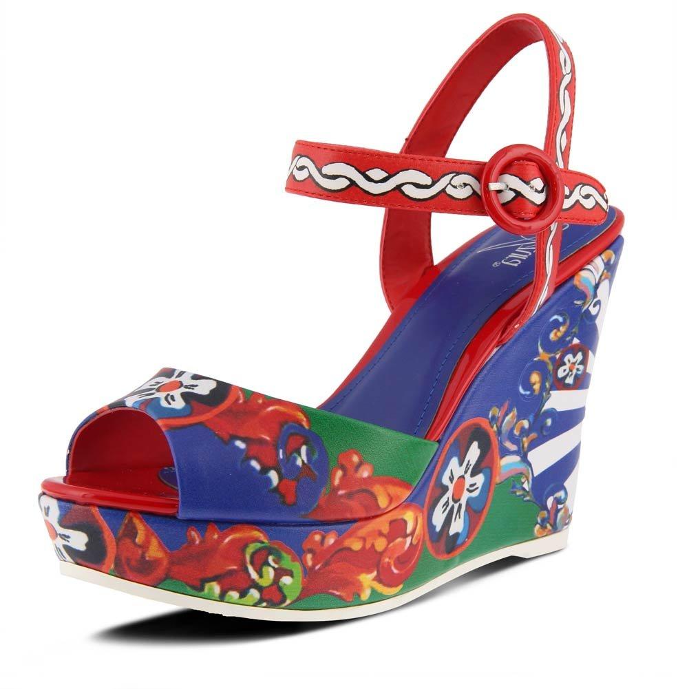 Azura by Spring Step Women's Stella Wedge Sandal B07BB5BKX2 35 M EU (US 5 US)|Red/Multi