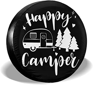 RV Happy Camper Funny Spare Wheel Tire Cover Waterproof Dust-Proof Fit for Trailer SUV and Many Vehicle 14 15 16 17