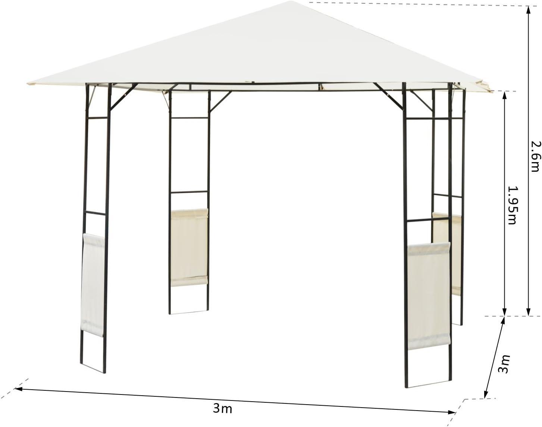 Outsunny Carpa 3x3x2.6m Cenador Jardin Marco de Acero y 4 ...