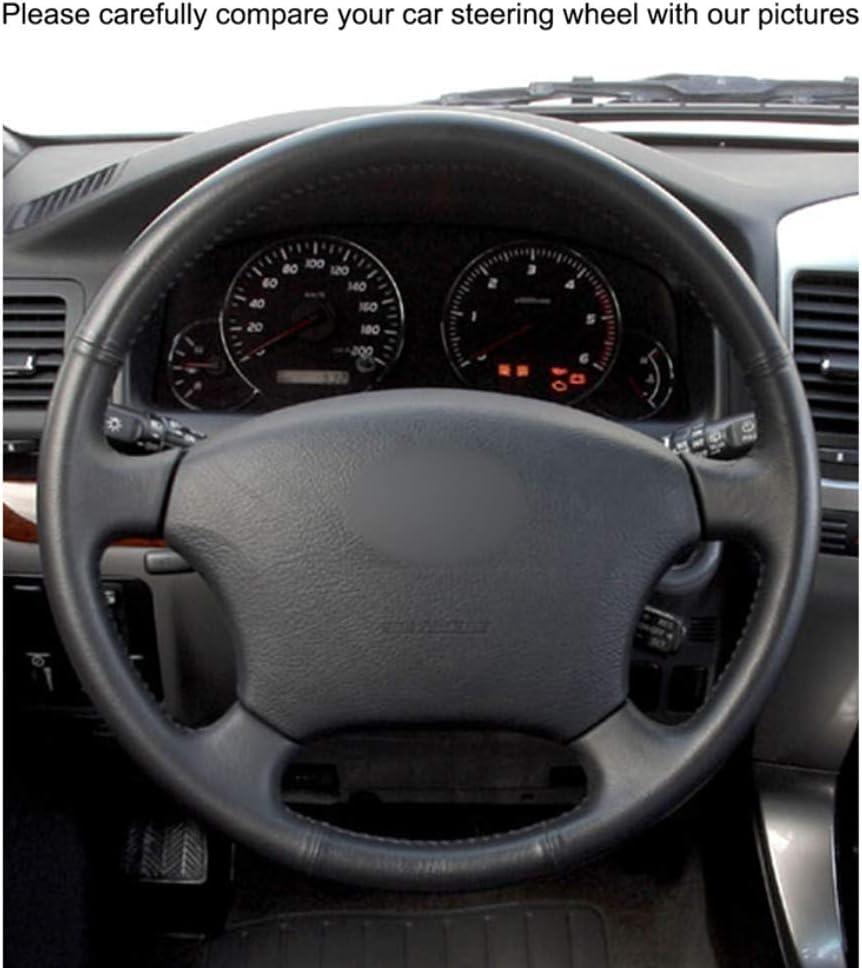 DLDBB Enveloppes de Volant de Voiture en Cuir Noir Cousues /à la Main pour Toyota Land Cruiser Prado 120 2004-2009