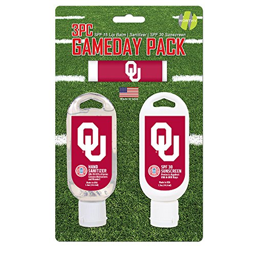 Oklahoma 3 Piece Bath - Worthy Promo NCAA Oklahoma Sooners Game Day Pack Includes 1 Lip Balm, 1 Hand Sanitizer and 1 SPF Sunscreen (3-Piece), 8 x 5 x 1.5-Inch, White