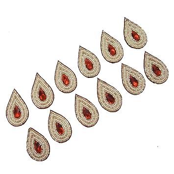 Diseño de la hoja de coser apliques decorativos perla con cuentas vestido de artesanía Patch 12 Piezas: Amazon.es: Hogar